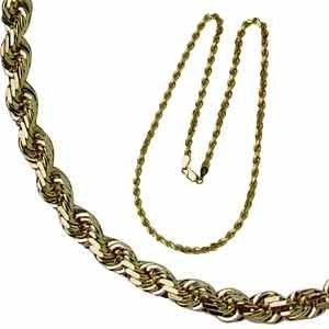 Mens Yellow Gold Rope Chain Necklace Men Chain Necklace