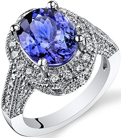 4.91 Carats Oval Shape Tanzanite Diamond Ring in 14Kt White Gold