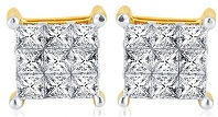 10K Yellow Gold White 0.75cttw Diamond Stud Earrings Mens or Womens 8MM