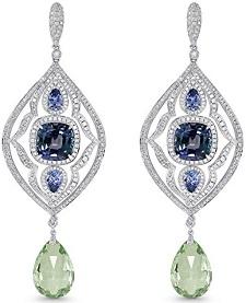 14.25Cts Tanzanite Gemstone Side Diamonds Earrings Set in 18K White Gold