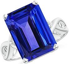 Twist Shank Emerald Cut Tanzanite Statement Ring