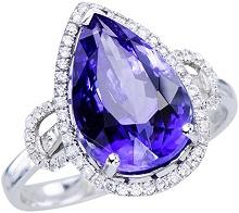 Womens Flawless Pure Blue Tanzanite 4.82CT Gemstone 18K White Gold Diamond Engagement Wedding Jewelry Statement Ring