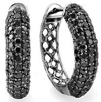 Black Rhodium Plated 10k White Gold Round Black Diamond Men Iced Out Hoop Earrings 3 CT