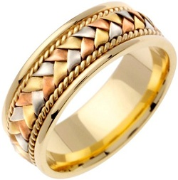 14k 3-tone Gold with Tri-color Stain Basket Weave and Rope Accent. 8.5mm Width Comfort Fit Unisex Wedding Band
