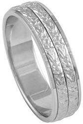 Mens Platinum 950 Double Carved 5.5mm Comfort Fit Wedding Band