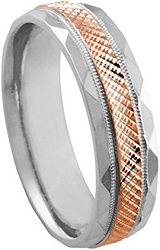 Mens Two Tone Platinum 18k Rose Gold Diamond Cut 6mm Comfort Fit Wedding Band
