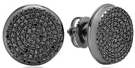 Real Black Diamond Micro Pave Hip Hop Mens Stud Earrings 0.40 Carat
