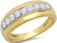 0.50 Carat (Ctw) 18K Gold Round Cut White Diamond Men's Anniversary Wedding Band