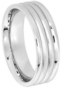 Mens 14K White Gold Triple Groove Comfort Fit Wedding Band