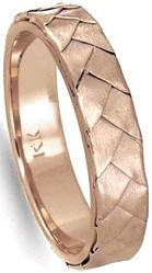 14K Rose Gold Braided Basket Weave Mens Comfort Fit Wedding Band