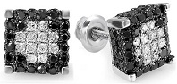 Mens Ladies Unisex Round Black & White Diamond Micro Pave Ice Cube Stud Earrings 1 CT