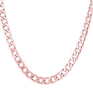 JewelStop 14k Solid Gold Rose Or White 5 mm Cuban Chain Necklace, Lobster Claw