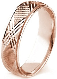 10k Gold Men's Comfort-Fit Carved Wedding Band with Cross Cut Center and Polished Edges (7mm)
