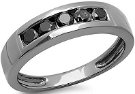 0.70 Carat (ctw) Black Plated Sterling Silver Black Round Diamond Men's 5 Stone Wedding Band
