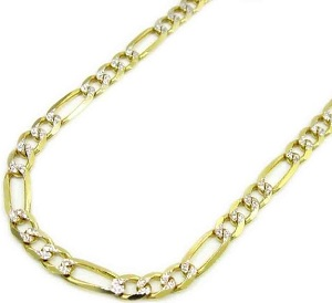 Mens 5mm Yellow Gold 10K Figaro Style Diamond Cut Necklace