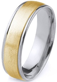 10k Gold Men's Two Tone Comfort-Fit Plain Wedding Band with Satin Finish and Cut Polished Edges (6mm)