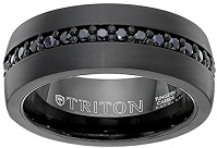 Triton Men's Black Tungsten 8mm Black Sapphire Wedding Band (1cttw)