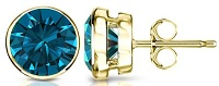 14k Gold Round Blue Diamond Men's Bezel Stud Earrings