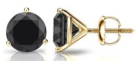 14k Gold Round Black Diamond Men's Stud Earrings 3-Prong Martini