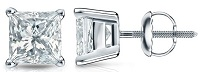 14k Gold 4-Prong Basket Princess-cut Diamond Mens Stud Earrings