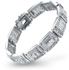 Bling Jewelry Sterling Silver Invisible Cut CZ Mens Bracelet Mens Diamond Bracelet