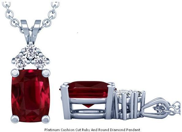 Platinum Cushion Cut Ruby And Round Diamond Pendant The Metal Platinum