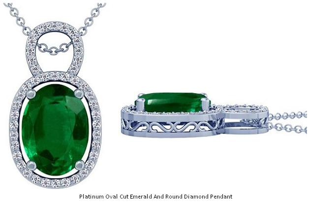 Platinum Oval Cut Emerald And Round Diamond Pendant The Metal Platinum