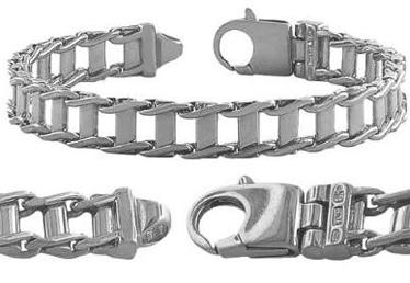 Rhodium-Plated-Sterling-Silver-Mens-Fancy-Link-Bracelet-8.5-Inch