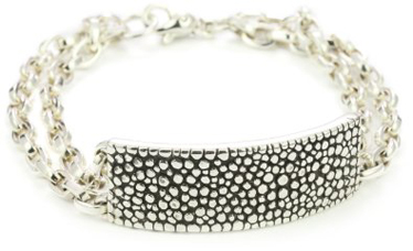 Sterling-Silver-Mensa-Double-Chain-Bracelet-With-Stingray-ID-Plate-In-Silver