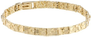 Mens 14k Solid Yellow Gold Nugget Diamond Cut Bracelet