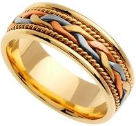 Handmade Braided 14k Three-Tone Gold Band