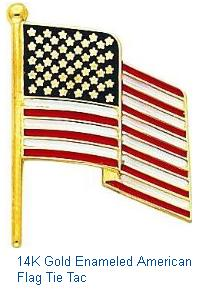 14K Gold Enameled American Flag Tie Tac Mens Jewlery