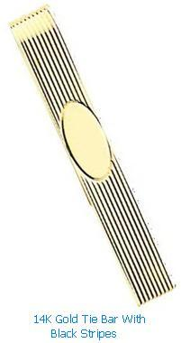14K Gold Tie Bar With Black Stripes Mens Jewlery