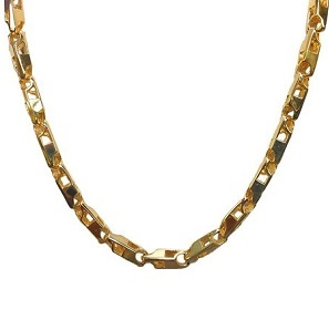 14K Solid Yellow Gold Heavy Handmade Link Men Chain Necklace