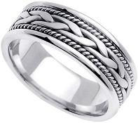 Handmade Braided 14k White Gold Band (6MM)