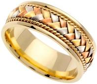 Handmade Woven 14k Three-Tone Gold Band (8MM)