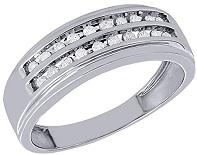 10K White Gold Round Cut Diamond Mens Engagement Double Grooved Wedding Band 0.25 Cttw