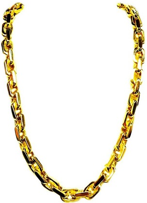 14K Solid Yellow Gold Heavy Handmade Link Mens Necklace