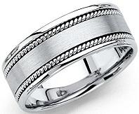 14k White Gold Polished Satin 8MM Rope Design Comfort Fit Wedding Band Ring