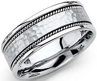 14k White Gold Polished Satin 8MM Handmade Hammered Center Comfort Fit Wedding Band Ring