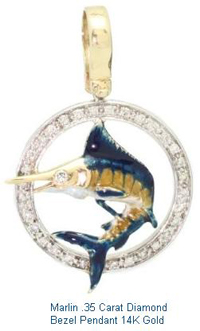 Marlin .35 Carat Diamond Bezel Pendant 14K Gold Mens Jewlery
