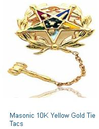 Masonic 10K Yellow Gold Tie Tacs Mens Jewlery