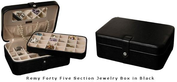 Remy Forty Five Section Jewelry Box in Black Mens Jewlery