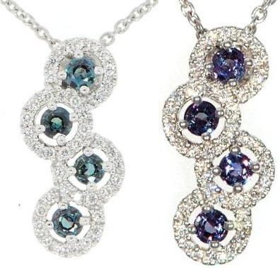 Genuine 4 Round Cut Alexandrite & Bright Fine Diamond Pendant in 18 kt White Gold