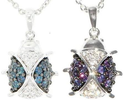 Genuine Alexandrite and Diamond LadyBug Pendant in 18 kt White Gold