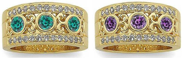 Glorious Alexandrite Vintage Band Featuring Genuine Alexandrite & Diamond in 14 kt Yellow Gold