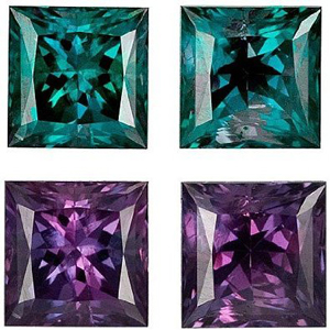 Incredible Fine GEM Alexandrites in Matched Pair Princess Cut 1.73 Carats Total Weight