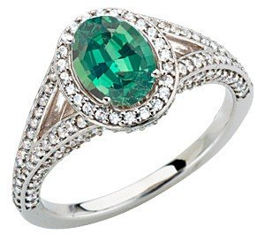 Stunning Oval Cut Genuine Alexandrite GEM Mounted in Custom Made White Gold Diamond Ring