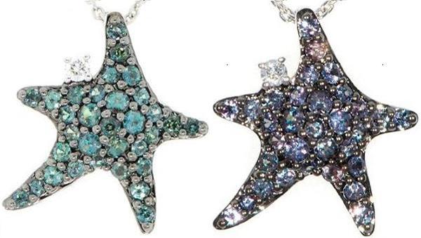 Unique Starfish Jewelry Real Genuine Alexandrite Pave & Diamond Pendant in 18 kt White Gold