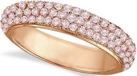 Hidalgo Micro Pave 3 Rows Pink Diamond Ring 18k Rose Gold (0.76ct)